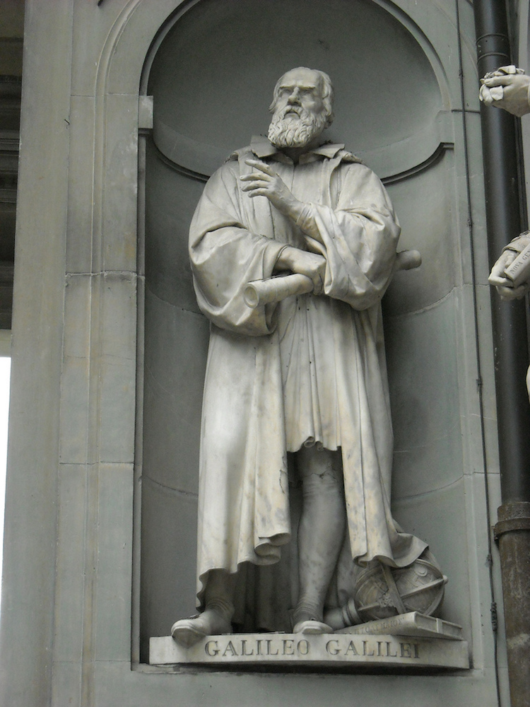 A photo of a Galileo statue.
