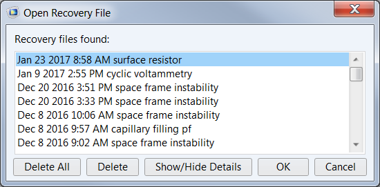 Screenshot of the Open Recovery File window in COMSOL Multiphysics.