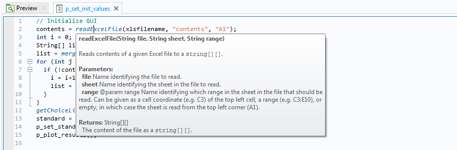 A graphic showing the code for the readExcelFile() method.