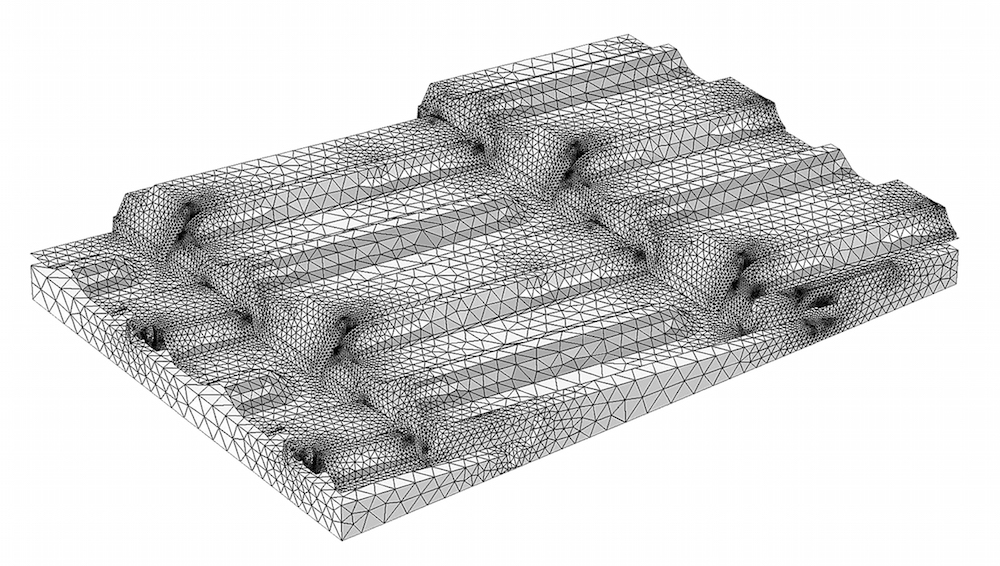 An image of the meshed modeling domain for the roof tile.