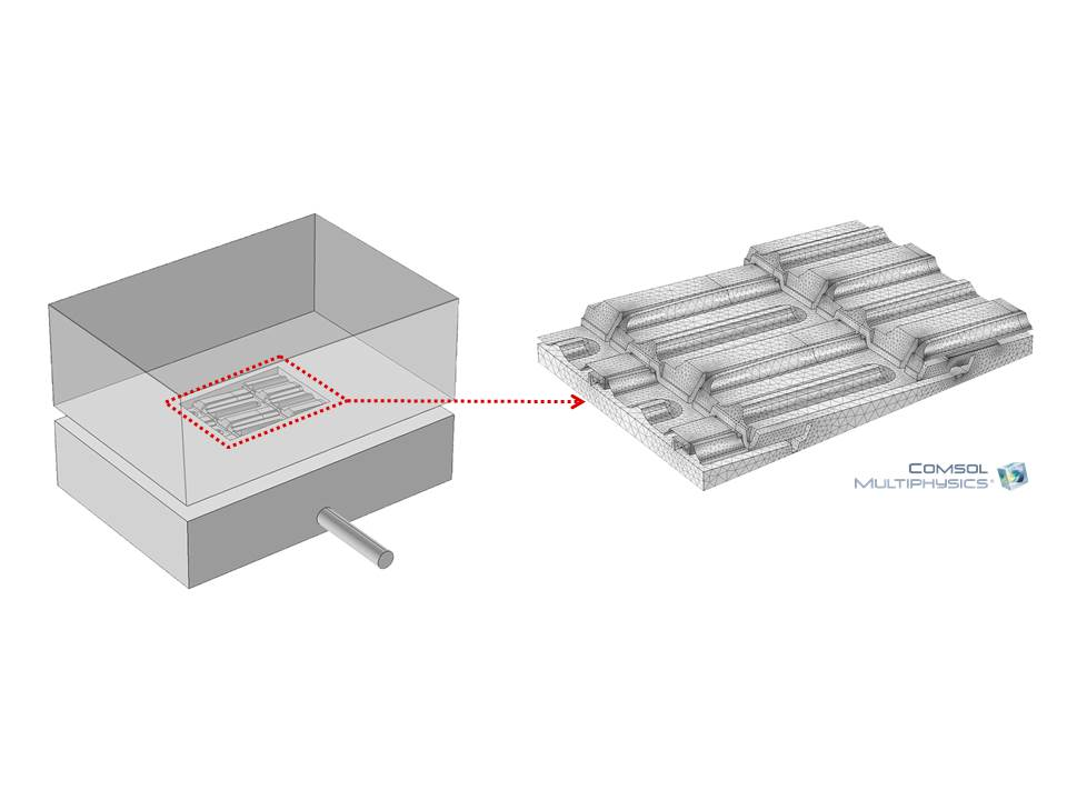 A graphic showing the COMSOL Multiphysics® modeling domain for the roof tile.