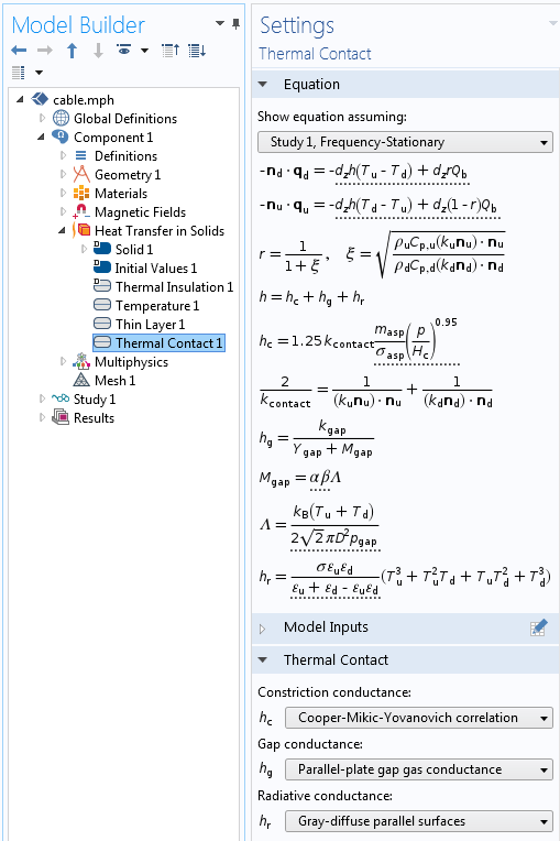 An image showing the settings and equations for the Thermal Contact feature in COMSOL Multiphysics®.