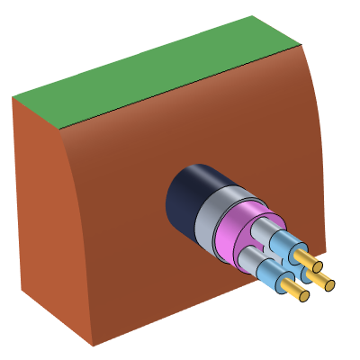 An illustration of an underground electrical cable.