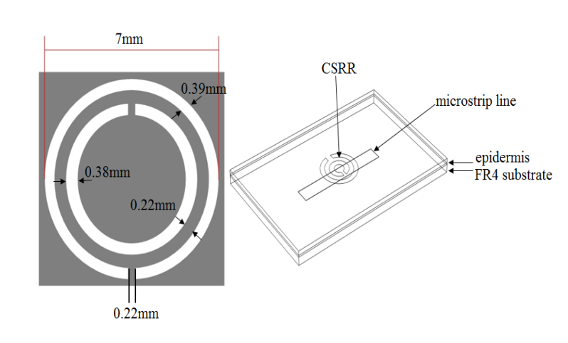Side-by-side images showing schematics of the CSRR and the CSRR-based sensor model.