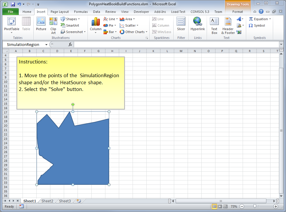Editing a polygon in an Excel workbook.