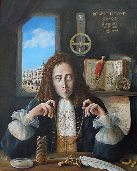 A painting of Robert Hooke holding a chain that forms a catenary curve.