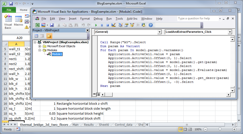 VBA script for extracting COMSOL Multiphysics model parameter data and adding them to Excel.