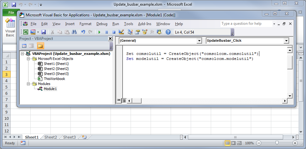 Screenshot showing how to access COM components in VBA.