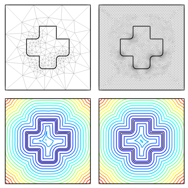 Four images showing results plots of the distance fields around and inside an object.