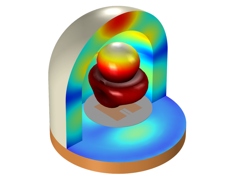 Simulation results showing the electric field distribution in the radome shell in COMSOL Multiphysics®.