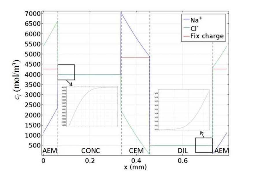 A plot of the concentration profiles for a cell pair with an empty channel.