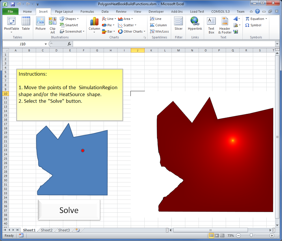 A COMSOL Multiphysics model is inserted into an Excel worksheet.