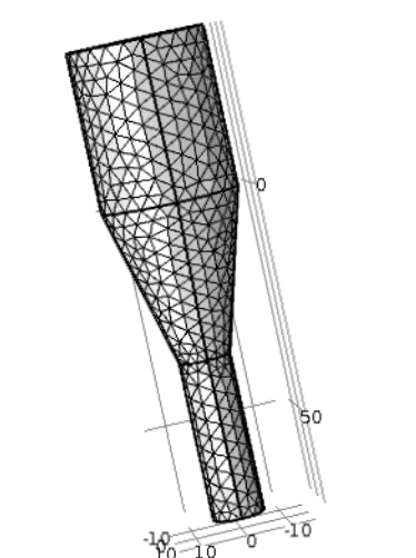 An image showing tetrahedral mesh with 48,000 elements for the rotating cone micropump model.