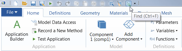 A screenshot showing the Find tool in COMSOL Multiphysics.