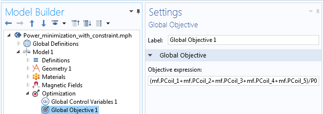 A screenshot showing the Global Objective expression in COMSOL Multiphysics.