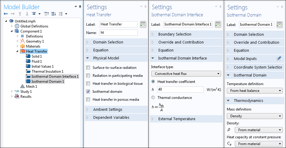 A screenshot showing the different Settings windows for the Isothermal Domain interface.