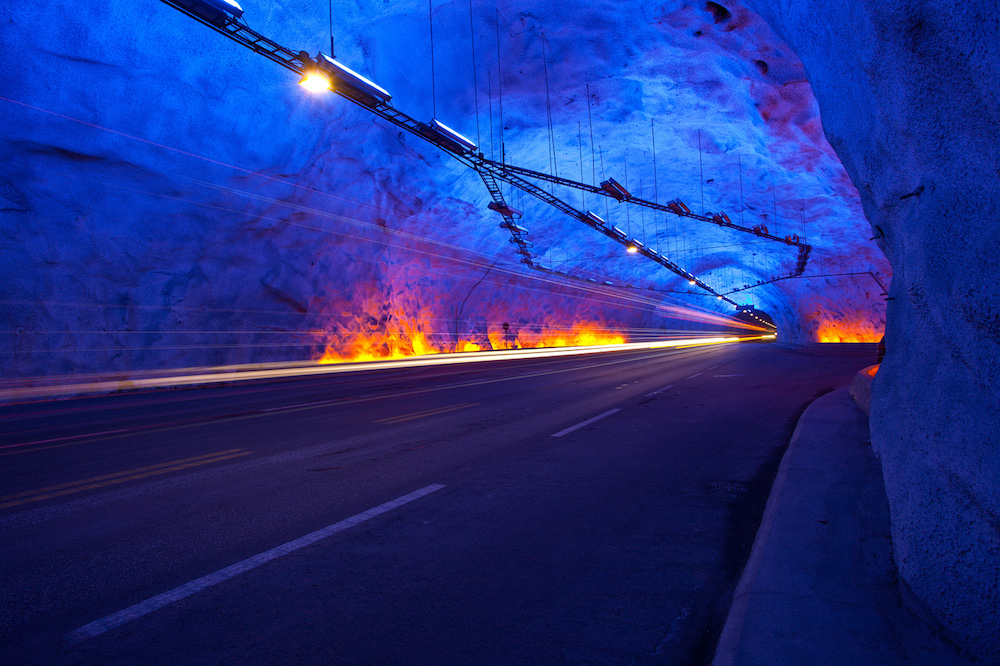 A photograph of the Lærdal Tunnel.