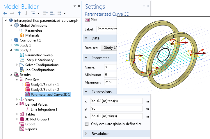 A screenshot showing the settings for a Parametric Curve 3D data set.