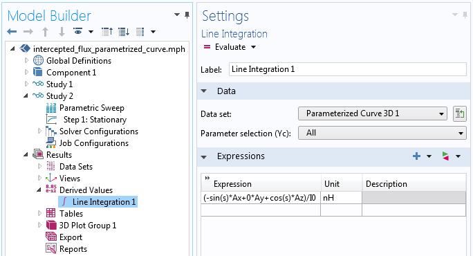 Parametric Curve data set line integration