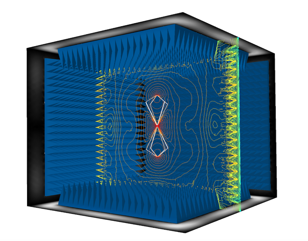 A COMSOL Multiphysics model of an anechoic chamber used in EMI and EMC testing.