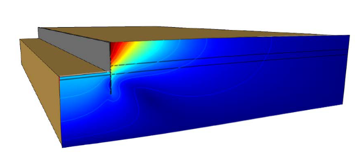 A graphic of the bank protection structure model in COMSOL Multiphysics®.