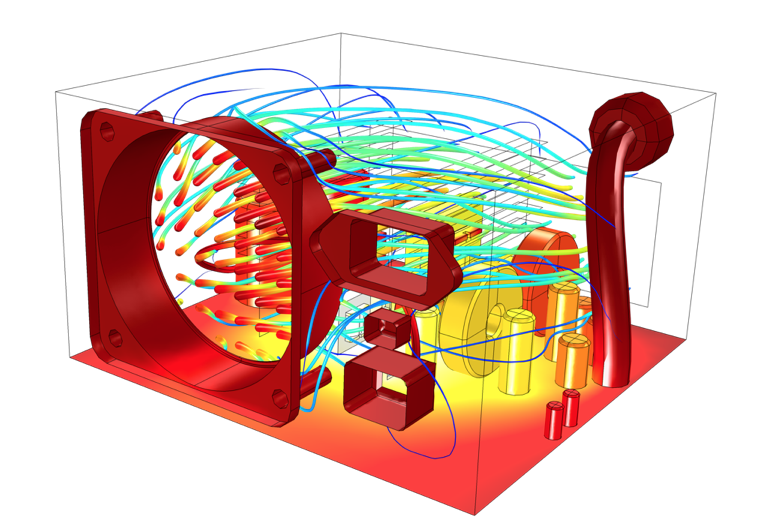 An image showing the simulation results for air flow and temperature within an electronics enclosure.