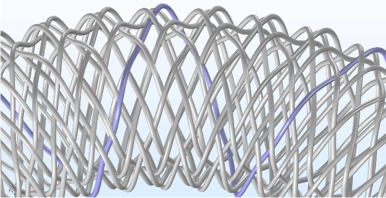 A graphic showing the pattern of the flow-diverting stent, with one wire highlighted.