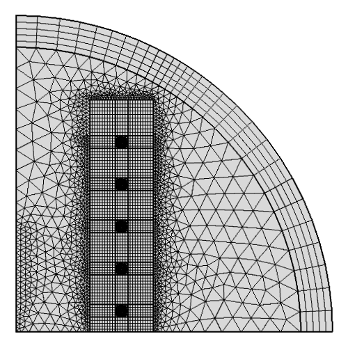 A screen capture showing the mapped mesh used for the deforming domains around the electromagnetic coils.