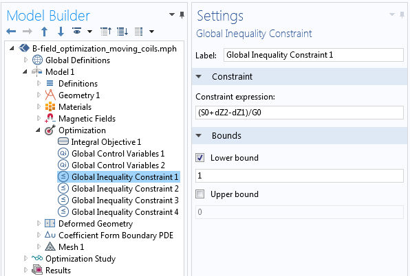 A screenshot showing a constraint expression in an input field.