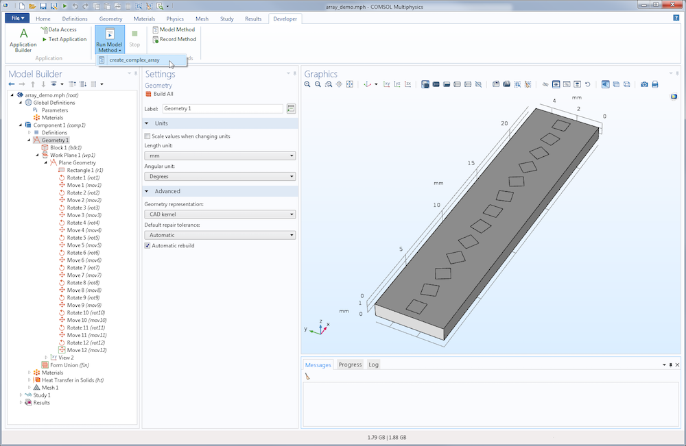 Screenshot depicting the use of model methods to update a model in COMSOL® software version 5.3.