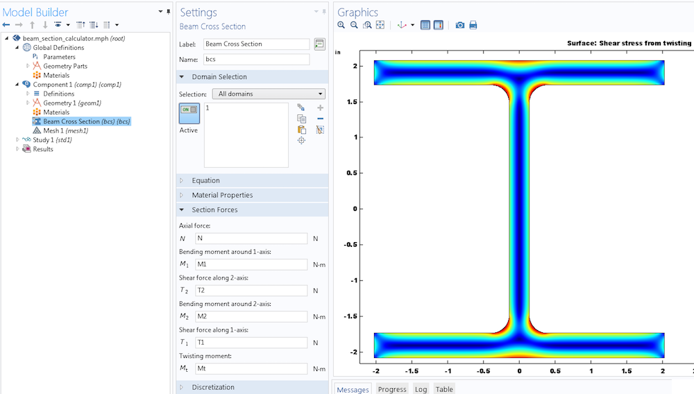 A screenshot from COMSOL Multiphysics showing a model using the Beam Cross Section interface.