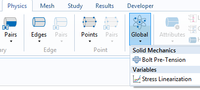 A screenshot of the COMSOL Multiphysics® Model Builder ribbon, highlighting the Stress Linearization node.