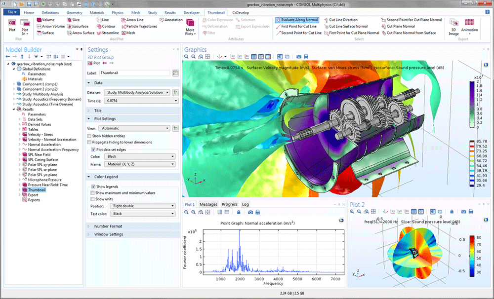 A screenshot of the COMSOL Multiphysics GUI with the gearbox model in the Graphics window.