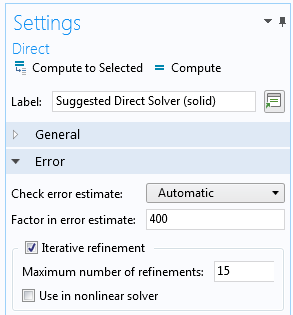 A screen capture of the Settings window for the Direct solver.
