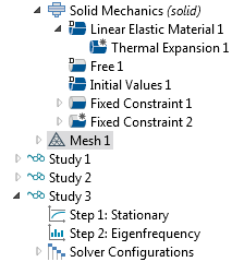 A screenshot of the Model Builder tree in COMSOL Multiphysics® with two study steps.