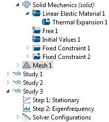 """COMSOL Multiphysics® 中""""模型开发器""""树的屏幕截图,其中包含两个研究步骤。"""
