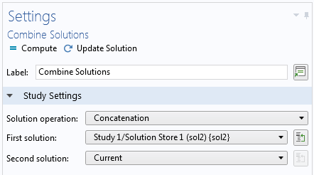 A screenshot of the Settings window for Combine Solutions.