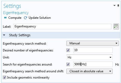 A screenshot of the updated Settings window in the Eigenfrequency node.