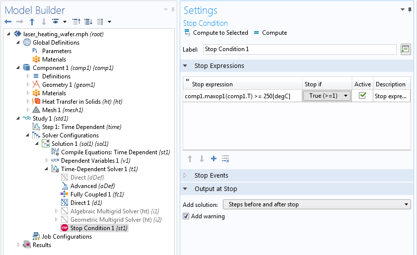 A screen capture of the Stop Condition Settings window.