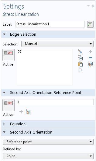 A screen capture showing the Settings window for the Stress Linearization node.