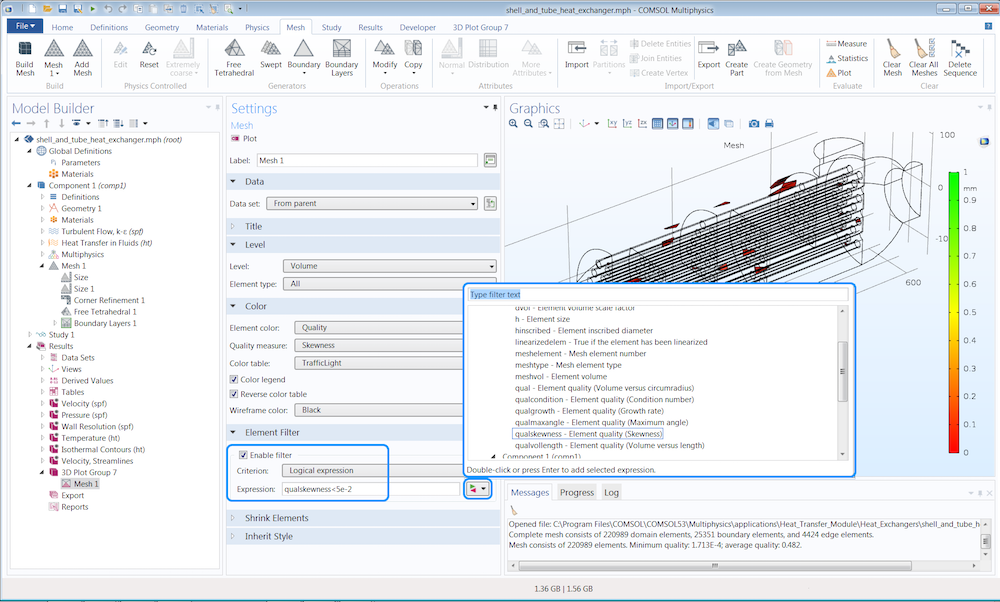 An annotated screenshot of the COMSOL software illustrating how to inspect the quality measures of a mesh.