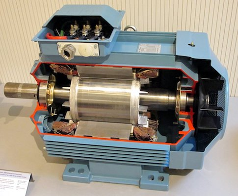A photo of a three-phase induction motor.