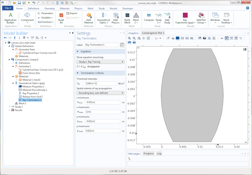 A screenshot of COMSOL Multiphysics version 5.3 showing the settings for the new Ray Termination feature.