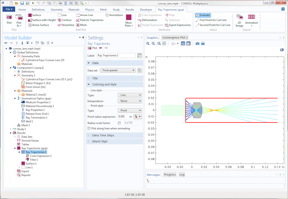 A screenshot of COMSOL Multiphysics version 5.3 showing a model where the Ray Termination feature stops the propagating rays.