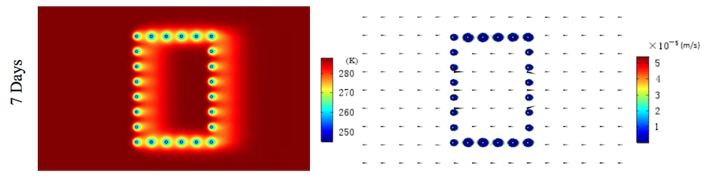 Side-by-side images showing the temperature distribution and permeability coefficient in the AGF system at one week.