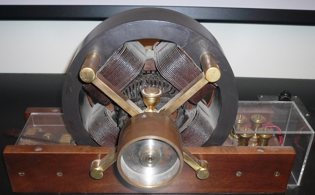 A photograph of a Tesla induction motor.