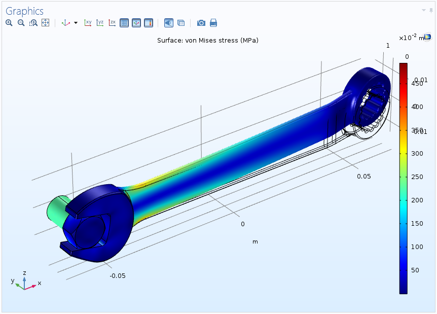 An image of the solution for the wrench model with an upward load.