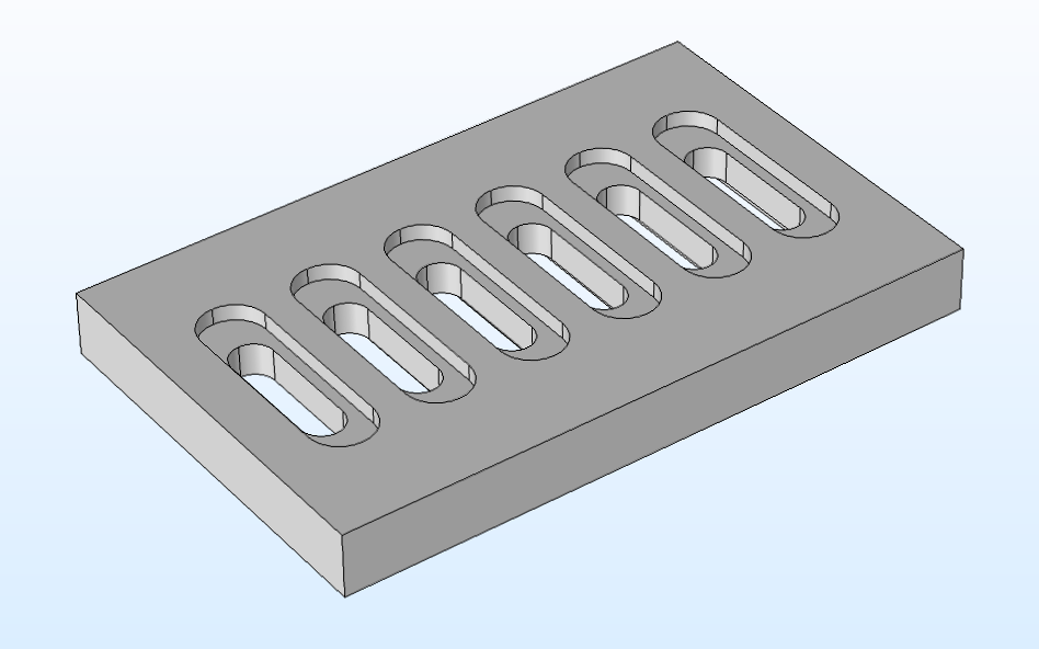 A 3D COMSOL geometry of a plate with a grille.