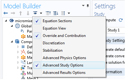 A cropped screenshot showing the Advanced Study Options enabled in COMSOL Multiphysics.