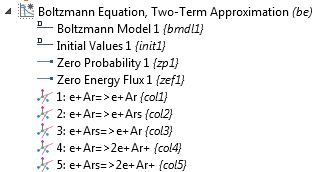 A screenshot of the Boltzmann Equation, Two-Term Approximation interface's model tree.
